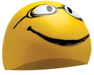 Smiley face szilikon úszósapka – LCSMILEY - (720) Sárga